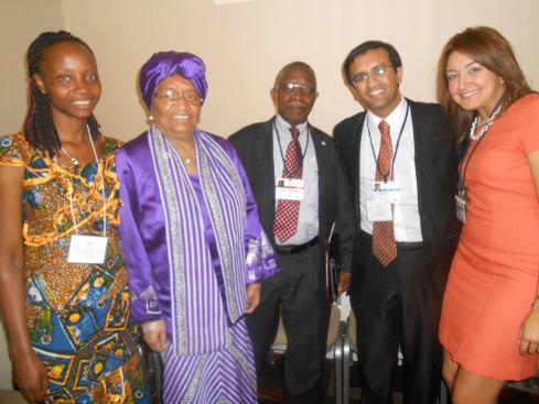 Raj, Alice and President of Liberia, Sirleaf Gwenigale at CGI 2013.